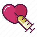 adrenaline, favorite, heart, injector, love, reanimation, syringe icon
