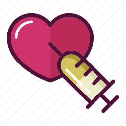 adrenaline, favorite, heart, injector, love, reanimation, syringe icon