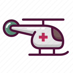 ambulance, delivery, healthcare, helicopter, hospital, medical care, transportation icon
