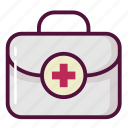 bag, case, first aid kit, first-aid kit, medicine chest, suitcase, surgical bag icon