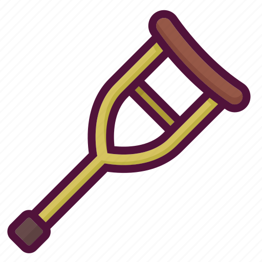 crutch, disability, disabled, fracture, handicap, handicapped, invalid icon