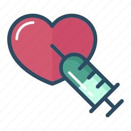 adrenaline, healthcare, heart, injector, medical, reanimation, syringe icon