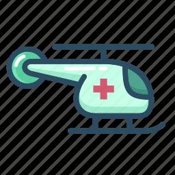 ambulance, emergency, healthcare, helicopter, hospital, medical, transportation icon