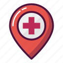 doctor, healthcare, hospital, map, marker, navigation, pin icon