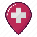 doctor, gps, hospital, map, marker, navigation, pin icon