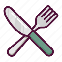 cutlery, food, fork, healthy, knife, lunch, restaurant icon
