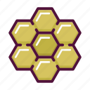 apitherapy, bee, beehive, hexagon, honey, honeycomb, insect icon