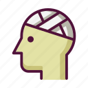 bandage, bandaged head, hospital, injury, medicine, patient, treatment icon