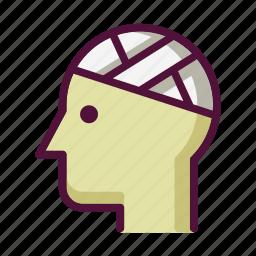 bandage, bandaged head, hospital, injury, medicine, patient, treatment icon