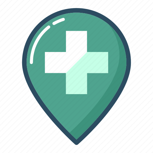 doctor, hospital, map, marker, navigation, pin, pointer icon