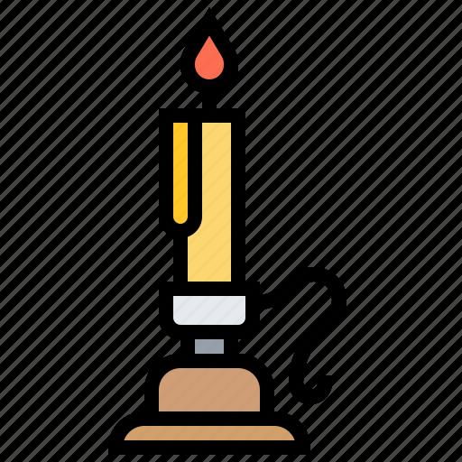 candleholder, candlestick, fashioned, lighting, old icon