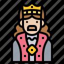 emperor, king, medieval, monarch, royal icon