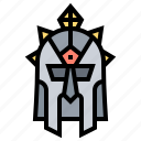 helmet, knight, mask, medieval, roman icon