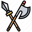 axe, halberd, medieval, pike, weapon icon