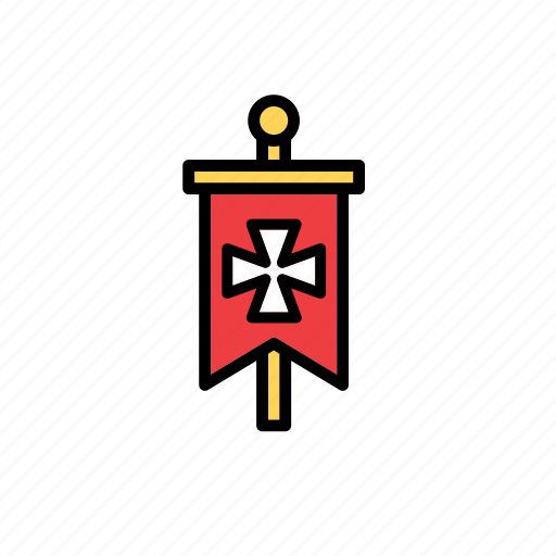 banner, cross, flag, medieval, middle ages, standard, times icon