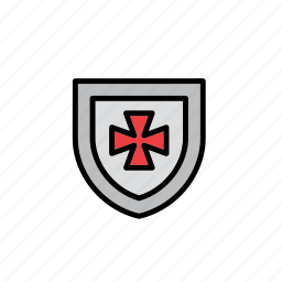 badge, cross, emblem, knight, medieval, middle ages, shield icon