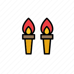 fire, flame, mediaeval, medieval, middle ages, torch, torches icon