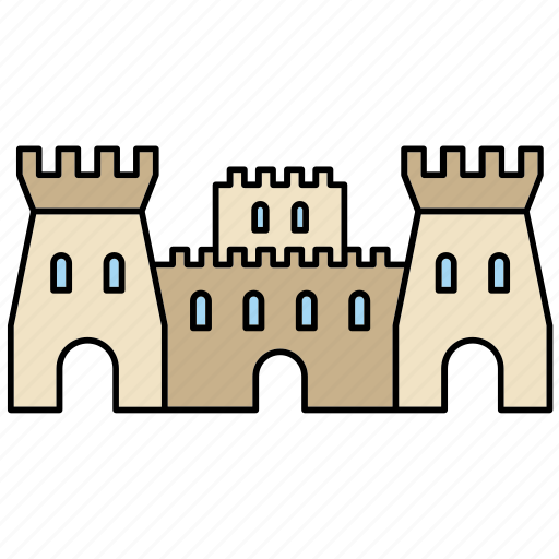 castle, construction, fortress, medieval, middle ages, tower, wall icon