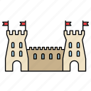 building, castle, fortress, medieval, middle ages, tower, wall icon