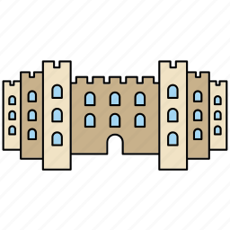 architecture, castle, fortress, medieval, middle ages, tower, wall icon