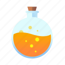bubbles, flask, magic, medieval, orange, potion icon