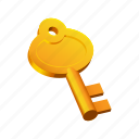 golden, key, medieval, old, tools icon