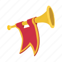 bugle, cartoon, flag, golden, instrument, medieval, trumpet icon