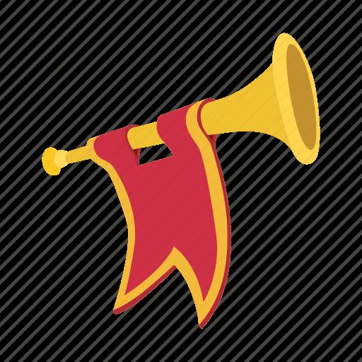bugle, cartoon, flag, golden, instrument, medieval, trumpet icon