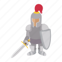 cartoon, character, history, knight, medieval, shield, soldier icon
