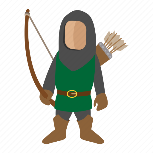 archer, arrow, bow, cartoon, character, fantasy, medieval icon