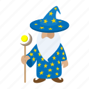 blue, cartoon, character, fantasy, magician, old, wizard icon
