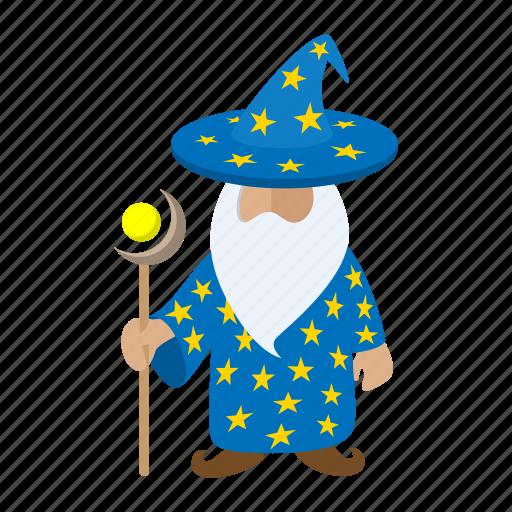 blue, cartoon, character, fantasy, magician, old, wizard icon