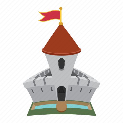 building, cartoon, castle, fortress, kingdom, medieval, tower icon