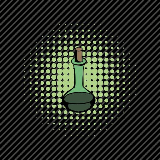 cap, comics, flask, glass, liquid, magic, substance icon