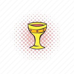 comics, cup, goblet, gold, mediaval, medieval, retro icon