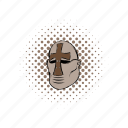 comics, crusader, helmet, historical, knight, medieval, metallic icon