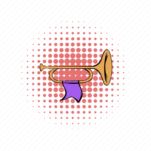 bugle, comics, flag, golden, medieval, purple, trumpet icon