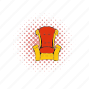 chair, comics, gold, king, queen, red, throne icon
