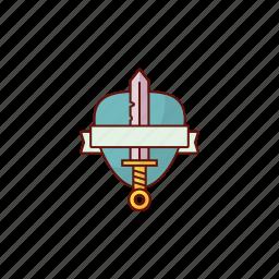 emblem, shield, sword icon