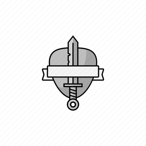 emblem, shield, sword icon
