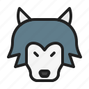 animal, mammals, night, wild, wolf icon