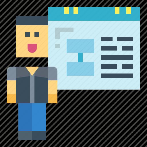 conference, presentation, projector, slide icon
