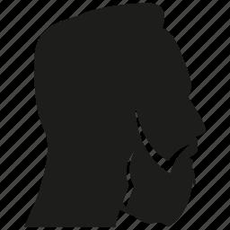 avatar, beard, face, head, man, profile, side view icon