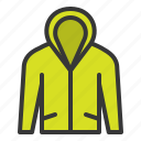 clothes, clothing, fashion, hood, long sleeve shirt, male, men icon