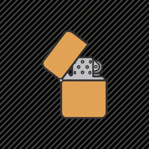 flip lighter, gas lighter, gasoline, lighter, pocket lighter icon