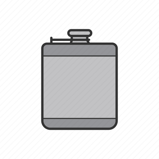alcohol flask, bottle, drink, flask, hip flask, men's accessory, whiskey icon