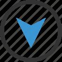 down, gps, location, pin icon