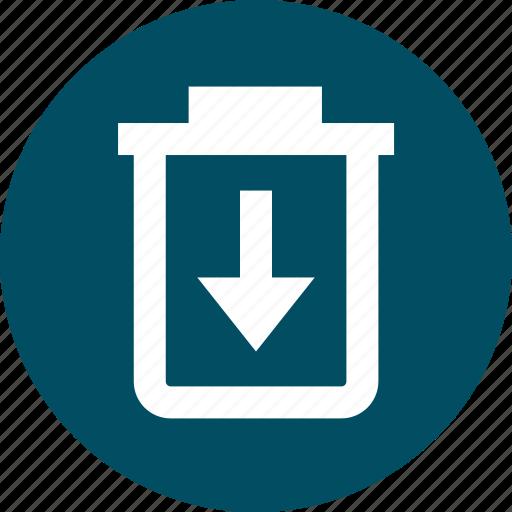 arrow, bin, can, down, trash icon