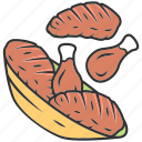 eat, food, fried, meat, nutrition, plate, sirloin icon
