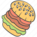 burger, dinner, fast, food, hamburger, sandwich, unhealthy icon